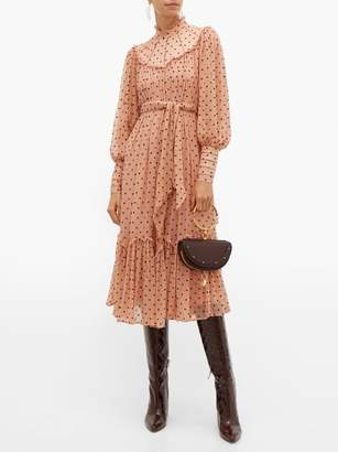 Zimmermann Espionage Polka Dot Silk Chiffon Midi Dress - Womens - Pink Print