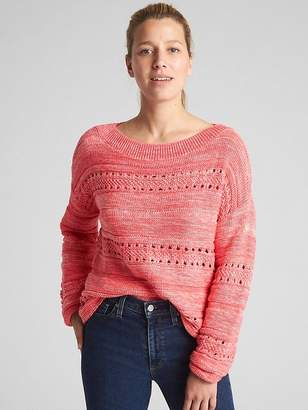 Textured Wide-Neck Pullover Sweater