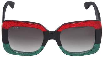Gucci Squared Glittered Acetate Sunglasses