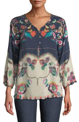 Johnny Was Zahra 3/4-Sleeve Floral-Print Georgette Tunic