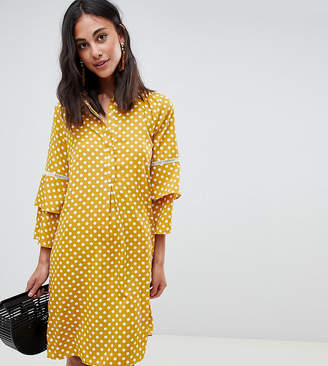 Vero Moda Tall tall polka dot shirt dress with fluted sleeve