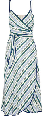 Tory Burch - Villa Striped Satin-twill Wrap Dress - US12 $495 thestylecure.com