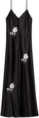 Embroidered Satin Slip Dress