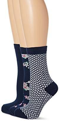 Lovestruck Women's 3Pk Vanilla Floral Casual Socks,(Manufacturer Size:4-7)