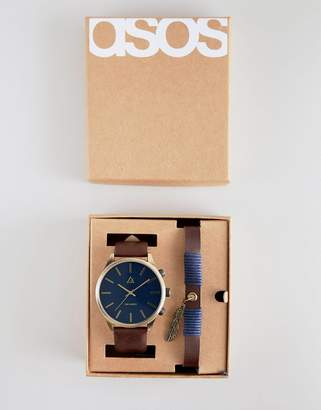 Asos DESIGN Watch And Bracelet Set In Tan With Geo-Tribal Emboss And Feather