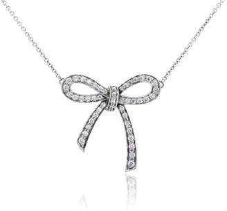 Tiffany & Co. Platinum Diamond Bow Pendant Necklace