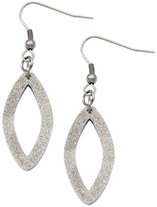 Steel By Design Stainless Steel Laser-Cut Oval Dangle Earrings