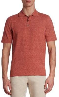 Saks Fifth Avenue COLLECTION Heathered Cotton Polo