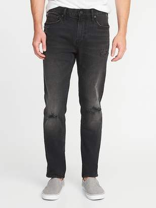 Old Navy Relaxed Slim Built-In Flex Distressed Black Jeans for Men