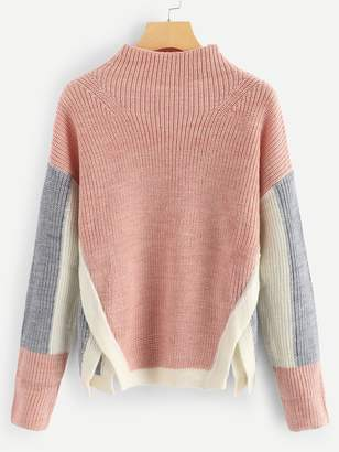 Shein Side Slit Colorblock Jumper