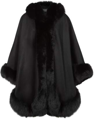 Harrods Cashmere Hooded Cape with Fox Trim