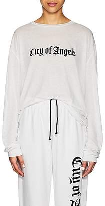 """ADAPTATION Women's """"City Of Angels"""" Cotton-Cashmere Long-Sleeve T-Shirt - White"""