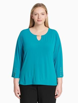 Calvin Klein Plus Size V-Neck 3/4 Sleeve Top