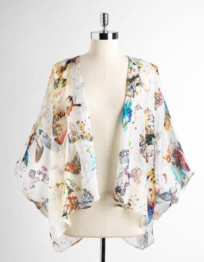 FIFTEEN-TWENTY Butterfly Print Silk Drape Jacket