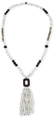 NEST Jewelry White Howlite & Agate Tassel Necklace