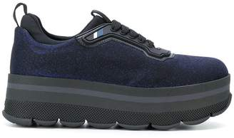 Prada lurex flat-form sneakers