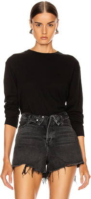 John Elliott Long Sleeve Cropped Tee in Black | FWRD