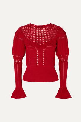 Self-Portrait Self Portrait Ruffled Open-knit Cotton Sweater - Red
