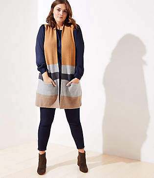 LOFT Plus Colorblock Pocket Sweater Vest