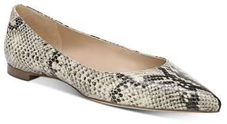 Sam Edelman Women's Sally Snake-Print Pointed Toe Flats