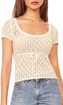 Reformation Polka Crochet Linen Top