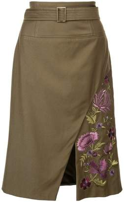 Josie Natori embroidered twill slit skirt