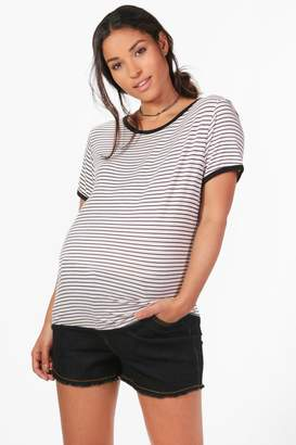boohoo Maternity Over The Bump Denim Short