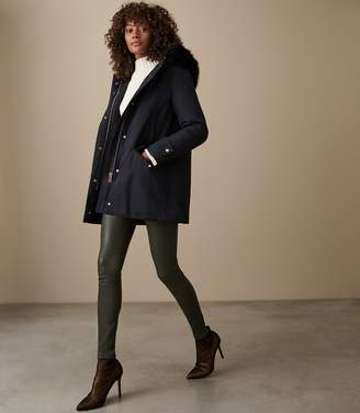 Reiss Rosie - Faux Fur Parka Coat in Navy