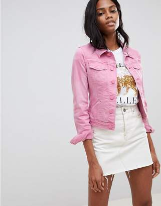 Oasis cropped denim jacket in pink