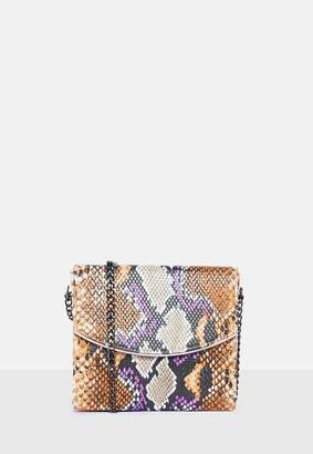 Missguided Snake Print Box Cross Body Bag, Multi