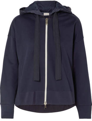 Moncler Cotton-jersey And Shell Hooded Top - Navy