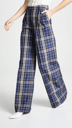 Sonia Rykiel Wide Leg Plaid Pants
