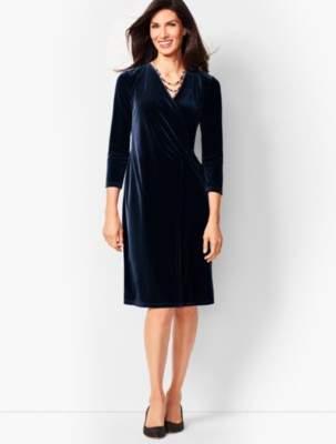 Talbots Velvet Faux-Wrap Sheath Dress