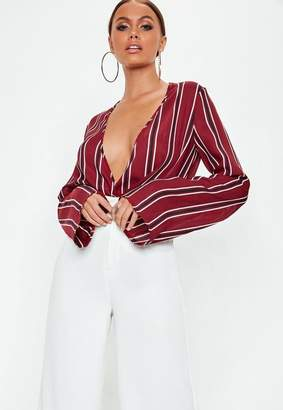 Missguided Burgundy Striped Drape Plunge Flare Sleeve Bodysuit