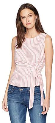 Nine West Women's Seersucker Blouse with SELF TIE