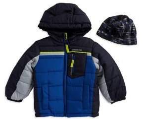 London Fog Little Boy's Two-Piece Puffer Jacket And Beanie Set