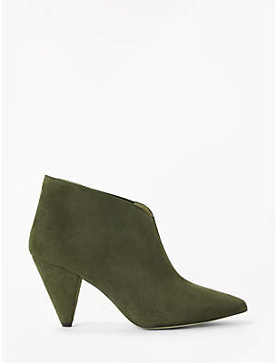 KIN Odelia Cone Heel Ankle Boots, Green Suede