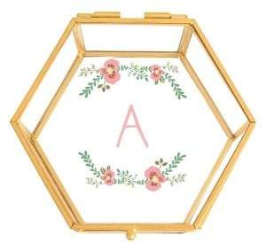Cathy's Concepts Gifts For Her Personalized Floral Keepsake Glass Box