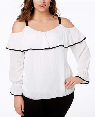 INC International Concepts I.n.c. Plus Size Ruffled Cold-Shoulder Top