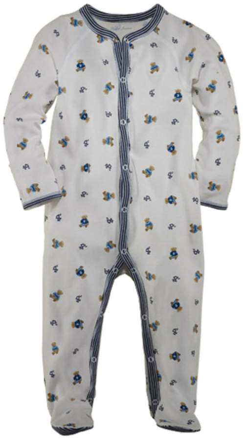 Baby Boys Newborn Bear Printed Footed Coverall