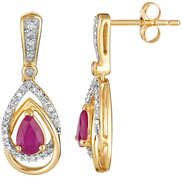 10k Gold Ruby & 1/4 Carat T.W. Diamond Drop Earrings