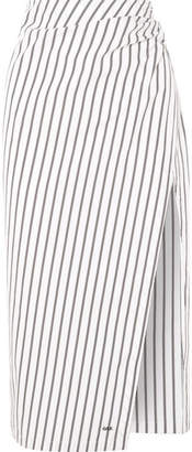 Draped Striped Cotton-poplin Skirt