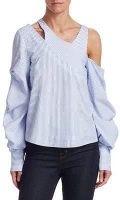 Jonathan Simkhai Striped Poplin Gathered-Sleeve Blouse