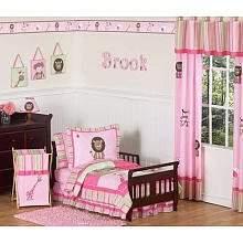 JoJo Designs Sweet Pink and Green Girls Jungle Toddler Bedding 5 pc set