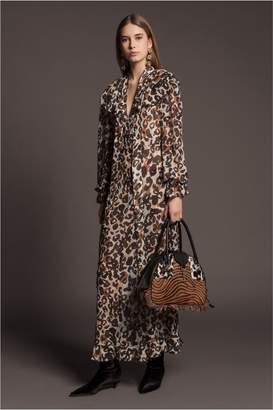Sonia Rykiel Washed Georgette Leopard-Print Maxi Dress