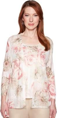 Alfred Dunner Women's Studio Embellished Mock-Layer Floral Cardigan