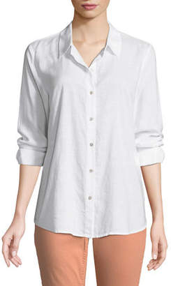 Eileen Fisher Crosshatch Classic Button-Front Shirt