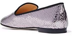 Giuseppe Zanotti Dalila Snake-Effect Mirrored-Leather Slippers