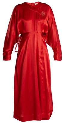 Roksanda Timona Wrap Around Silk Dress - Womens - Red