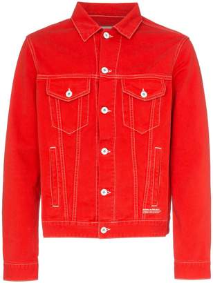 Off-White Off White Red graphic print denim jacket
